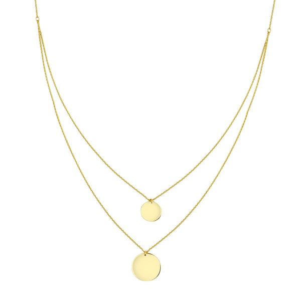 14K Gold Double Disc Necklace 14K - Adina's Jewels