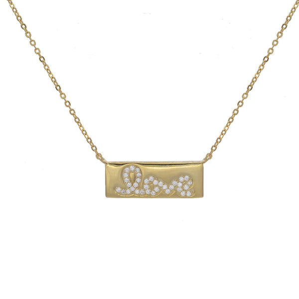 Gold Love Bar Necklace - Adina's Jewels