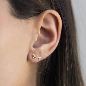 Love Script Stud Earring - Adina's Jewels