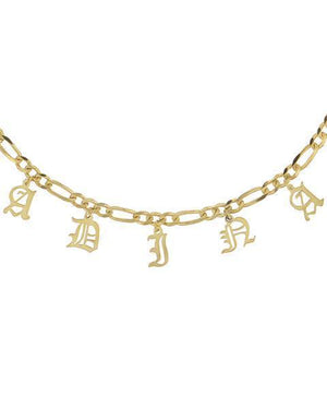 Figaro Old English Choker Gold / 1-4 Characters - Adina's Jewels