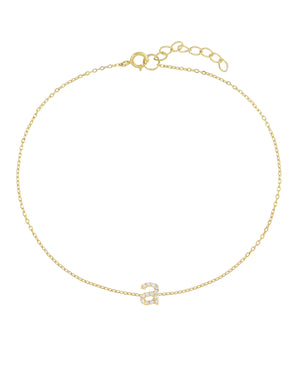 Tiny Lowercase Pavé Initial Anklet Gold - Adina's Jewels