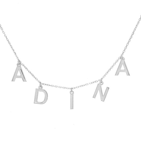 Silver Solid Block Name Necklace - Adina's Jewels