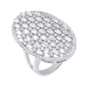 Silver / 7 Baguette Oval Ring - Adina's Jewels
