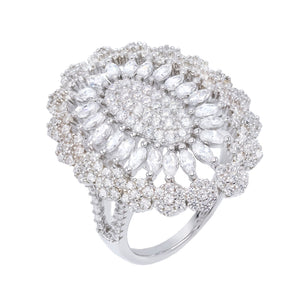 Medallion Flower Ring Silver / 6 - Adina's Jewels
