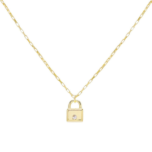 Gold CZ Mini Lock Necklace - Adina's Jewels