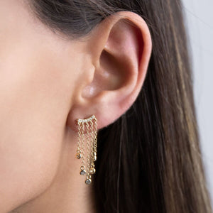 Hanging Chain Bezel Stud Earring  - Adina's Jewels
