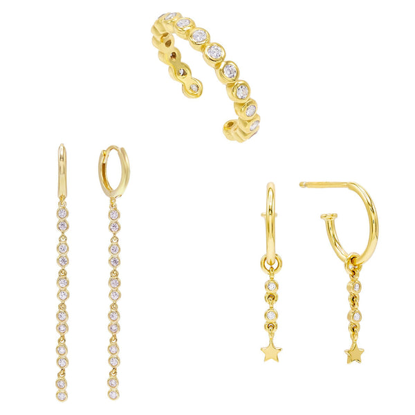 Bezel Earring Combo Set