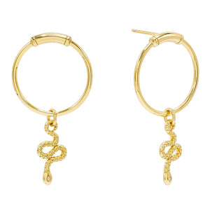 Gold Dangling Snake Stud Earring - Adina's Jewels