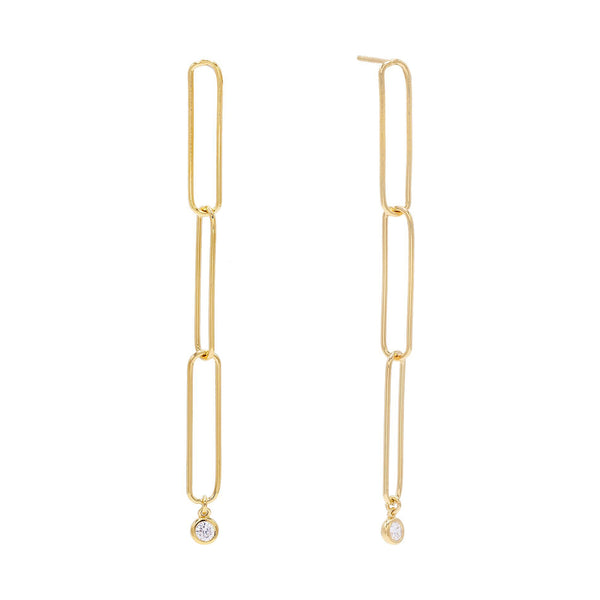 Gold Trio Link Drop Stud Earring - Adina's Jewels