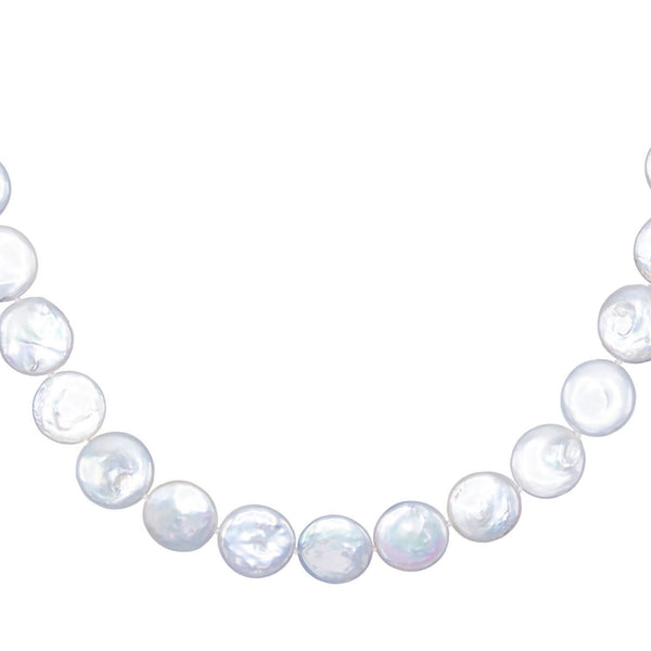 Pearl White Pearl Disc Necklace - Adina's Jewels