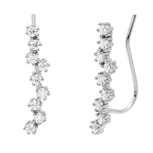 Stone Encrusted Ear Climber Silver - Adina's Jewels