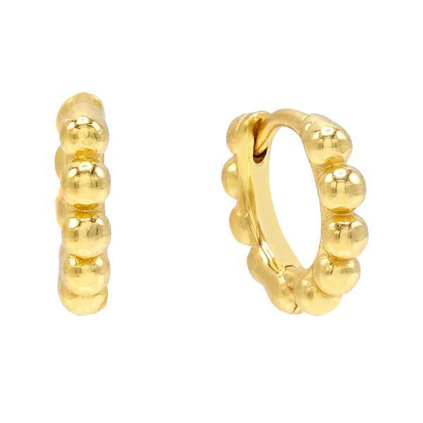 Gold / 10 MM Beaded Huggie Earring - Adina's Jewels
