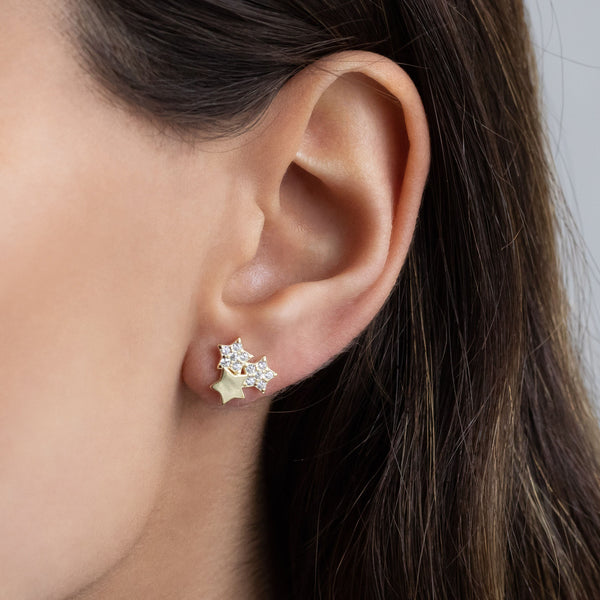Triple Stars Stud Earring - Adina's Jewels