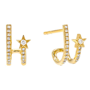14K Gold Diamond Shooting Star Stud Earring 14K - Adina's Jewels