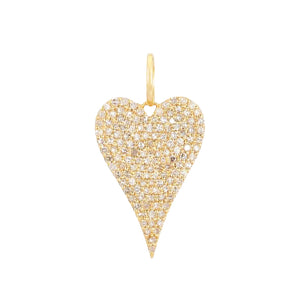 14K Gold Diamond Jumbo Heart Charm 14K - Adina's Jewels