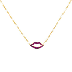 Pavé Lip Necklace Magenta - Adina's Jewels