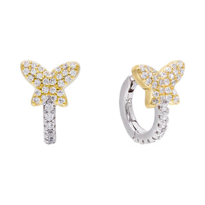 Two-Tone Butterfly Huggie Earring - Adina's Jewels