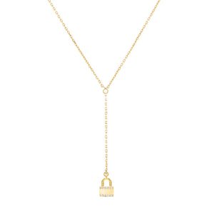 Pavé Lock Link Lariat Gold - Adina's Jewels