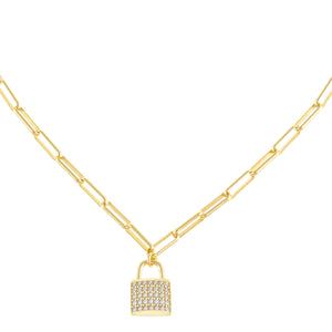 Pavé Lock Link Necklace Gold - Adina's Jewels