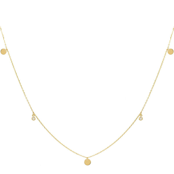 14K Gold Disc Bezel Choker 14K - Adina's Jewels