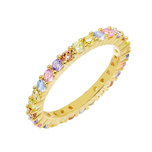 Pastel Rainbow Band Multi-Color / 8 - Adina's Jewels