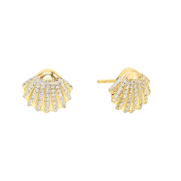 Gold CZ Shell Stud Earring - Adina's Jewels