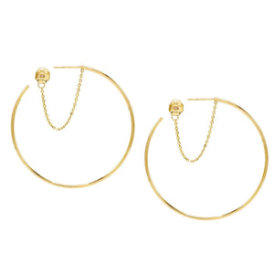 14K Gold Chain Hoop Earring 14K - Adina's Jewels