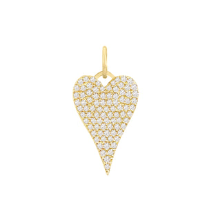 14K Gold / Medium Diamond Heart Charm 14K - Adina's Jewels