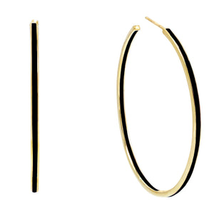 Onyx Large Enamel Hoop Earring - Adina's Jewels