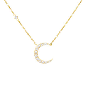Pearl White Pearl Crescent Necklace - Adina's Jewels