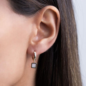 Mother of Pearl Square Huggie Earring 14K - Adina's Jewels