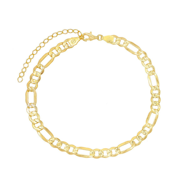 Gold XL Figaro Chain Anklet - Adina's Jewels