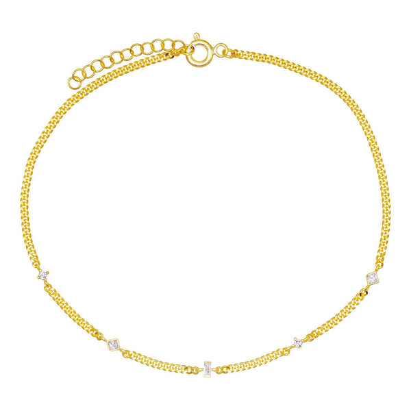 Gold Chain Stone Anklet - Adina's Jewels