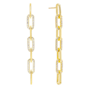 Pavé Link Drop Stud Earring Gold - Adina's Jewels