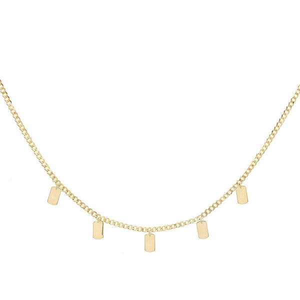 14K Gold / Engraved Engraved Tag Chain Necklace 14K - Adina's Jewels