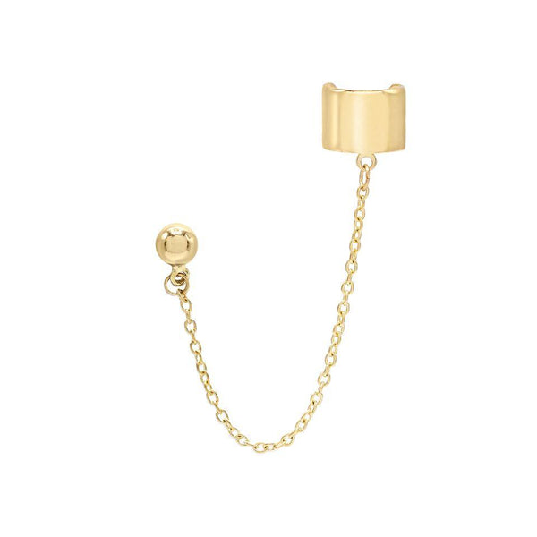 14K Gold / Single Chain Stud Ear Cuff 14K - Adina's Jewels