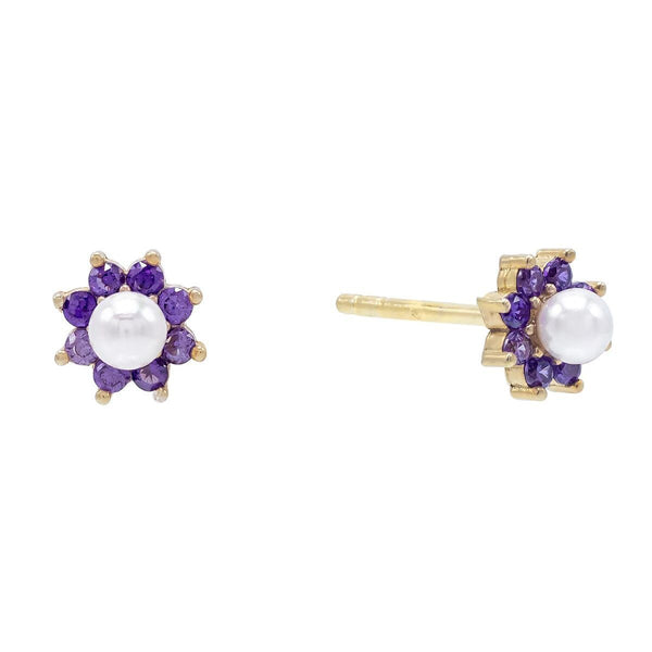 Amethyst Purple Pastel Pearl Flower Stud Earring - Adina's Jewels