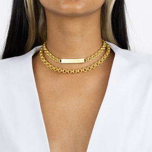 Hollow Rounded Rolo Bar Chain Choker - Adina's Jewels