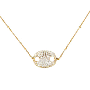 Pavé Oval Pendant Necklace Gold - Adina's Jewels