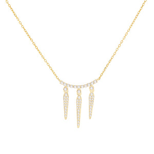 Diamond Triple Spike Necklace 14K 14K Gold - Adina's Jewels