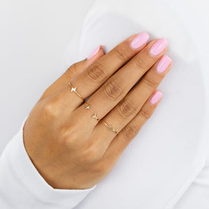 Mini Lightning Bolt Ring 14K - Adina's Jewels