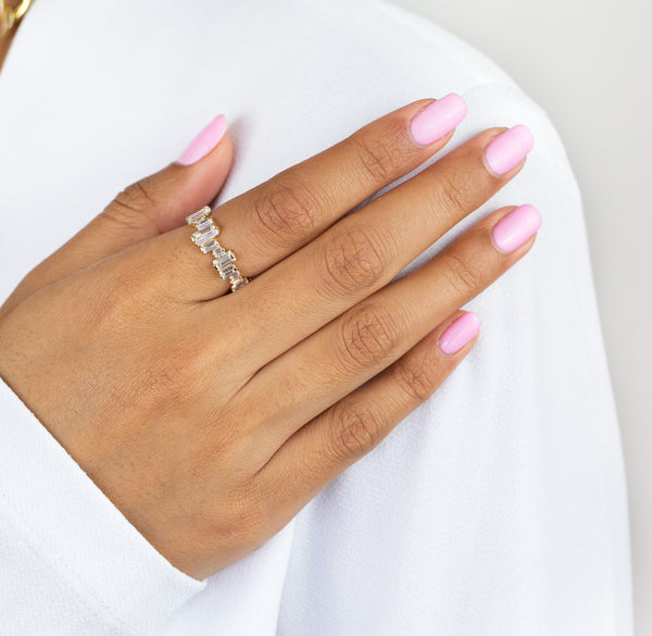 Scattered Baguette Ring 14K - Adina's Jewels