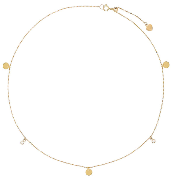 Disc Bezel Choker 14K - Adina's Jewels