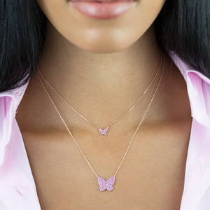 Pavé Mini Pink Butterfly Necklace - Adina's Jewels
