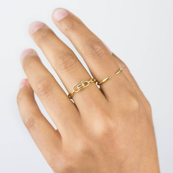 CZ Paperclip Chain Ring - Adina's Jewels