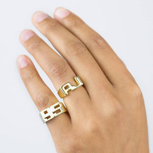 Double Initial Pinky Ring - Adina's Jewels