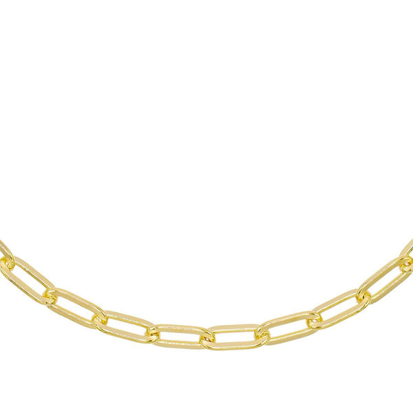 "Gold / 5 MM / 16"" Oval Link Necklace - Adina's Jewels"