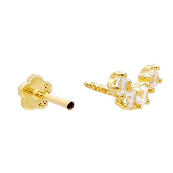 Half Circle Threaded Stud Earring 14K - Adina's Jewels