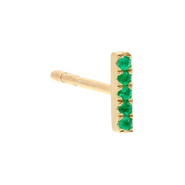 Diamond Ruby Bar Stud Earring 14K - Adina's Jewels