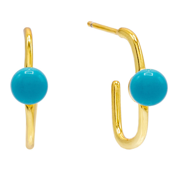Turquoise Hook Stud Earring - Adina's Jewels